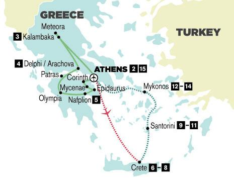 16-Day Greece tour itinerary map
