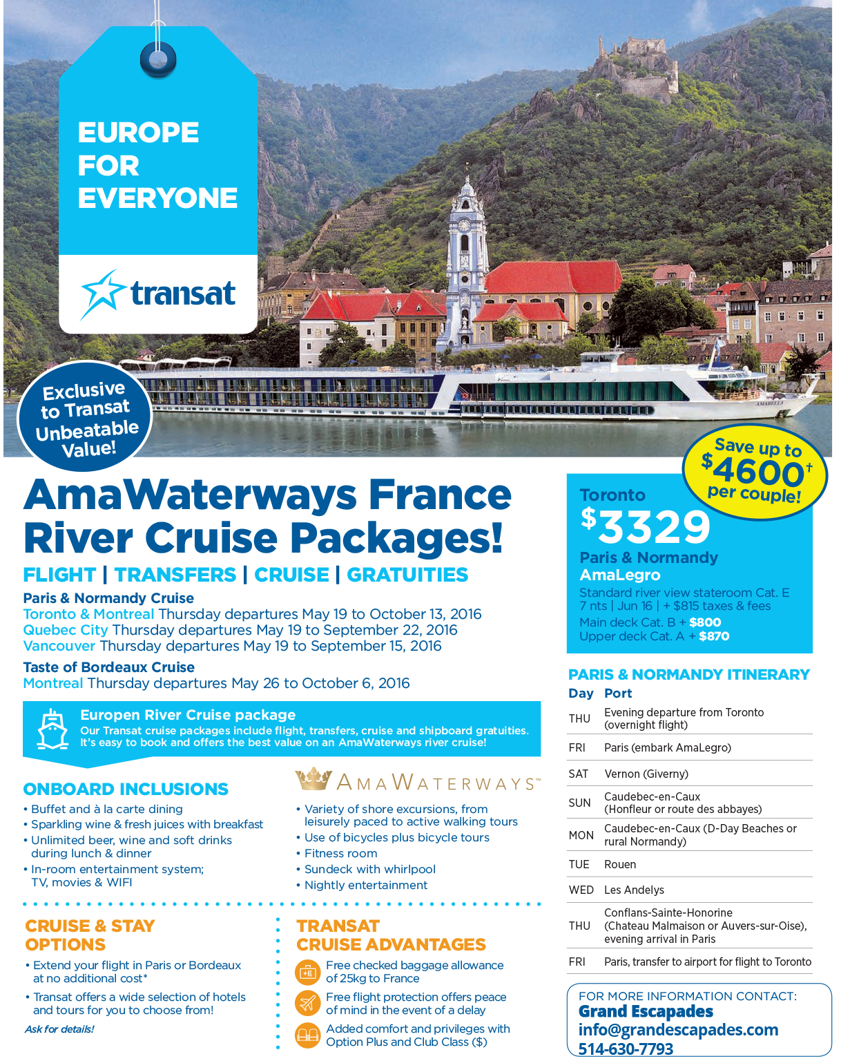France River Cruise Packages Grand Escapades - France river cruise