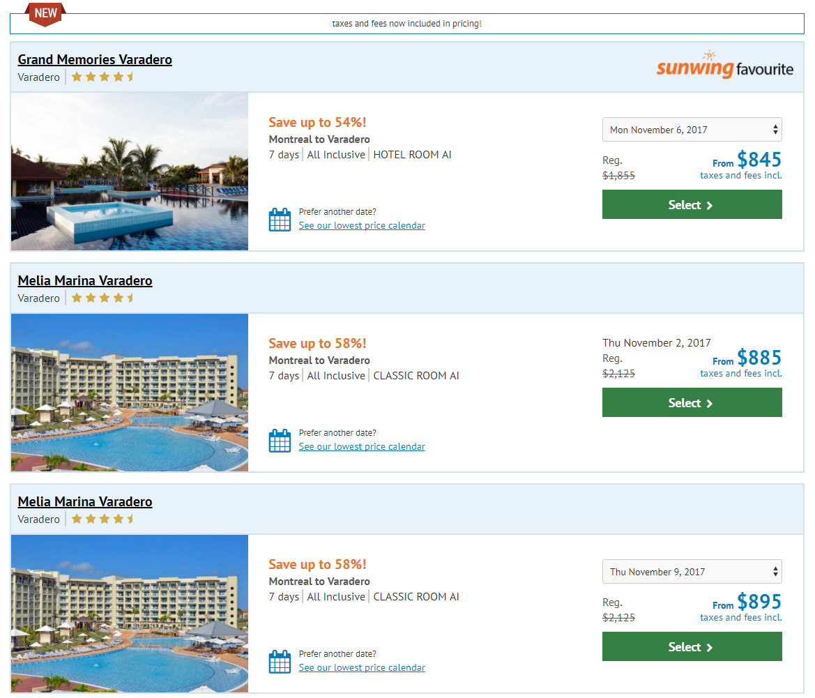 Sunwing Wild Wednesdays Deal