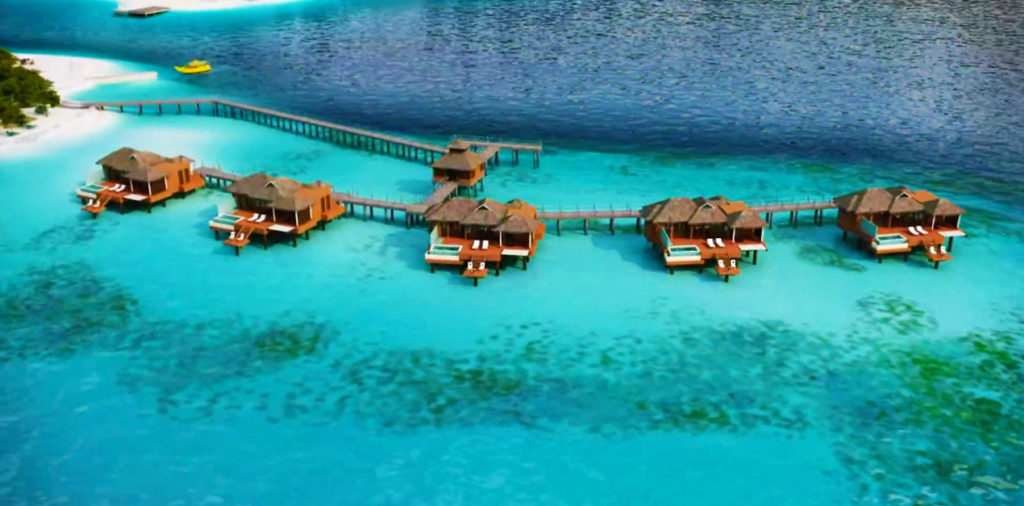 Birds eye view of the Over-the-water villas