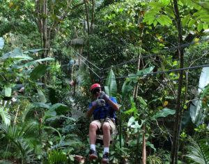 Ziplining through the trees in the Costa Rica rainforests